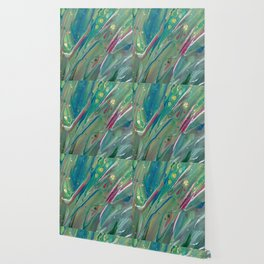 Fluid Nature - Budding Irises - Abstract Acrylic Wallpaper
