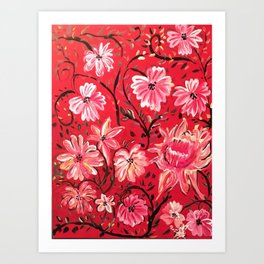 Red Floral Acrylic Painting Art Print