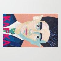 kafka Area & Throw Rugs featuring Franz Kafka by Ellen Pater