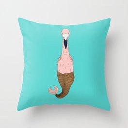 Mer Pink Flamingo Throw Pillow
