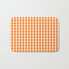 Classic Pumpkin Orange and White Gingham Check Pattern Bath Mat