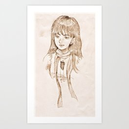 Clara in beige Art Print