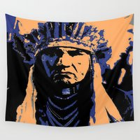 native american Wall Tapestries featuring Native American Head Dress  by T.E.Perry