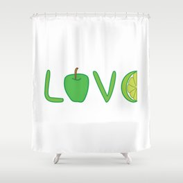 Love nature! Love lettering with green apple and lime. Shower Curtain
