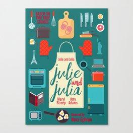 Julie and Julia, minimal movie poster, Meryl Streep, Amy Adams, Nora Ephron film, Julia Child, cook Canvas Print