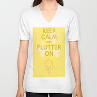 mlp V-neck T-shirts featuring Keep Calm and Flutter On (MLP FIM) by Michael Golding