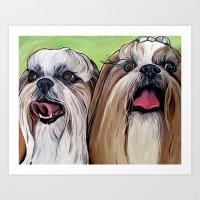 shih tzu Art Prints featuring Shih Tzu Dog Art by WOOF Factory