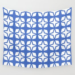 Mid Century Modern Star Pattern Blue 552 Wall Tapestry