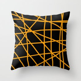 Doodle (Orange & Black) Throw Pillow