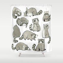 Delightfully Blobby Raccoons Shower Curtain