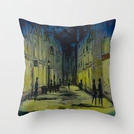 Evening shopping on Pride Hill Shrewsbury - UK Throw Pillow