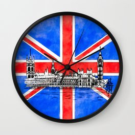Oh So British - The Union Jack And Parliament Wall Clock