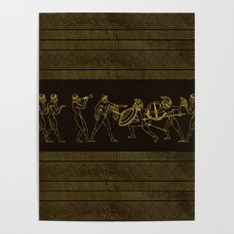 Ancient Sparta  Greece scene on greek pattern Poster