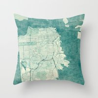 san francisco map Throw Pillows featuring San Francisco Map Blue Vintage  by City Art Posters