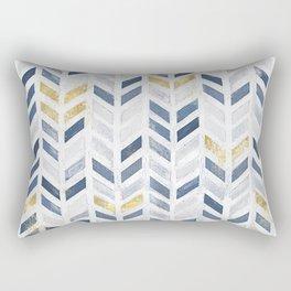 Herringbone chevron pattern. Indigo gold acrylic on canvas Rectangular Pillow