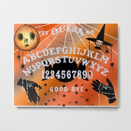 Halloween Theme Ouija Pattern (Grey Text) Metal Print