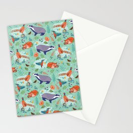 Woodland Animals on Green Stationery Cards