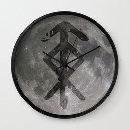 Viking bind rune 'Protection' on moon. Wall Clock