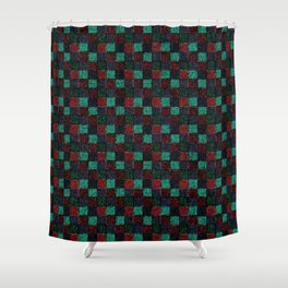 Rustic Red Green and Blue Patchwork Shower Curtain