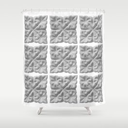 Aisha Bibi carved terracota tile with floral geometric ornament Shower Curtain