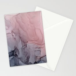 Blush and Gray Flowing Ombre Abstract 1 Stationery Cards