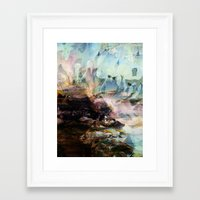 novelty Framed Art Prints featuring Morning Seashore Abstract by Moody Muse