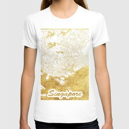 Singapore Map Gold T-shirt