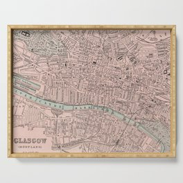 Vintage Map of Glasgow Scotland (1901) Serving Tray