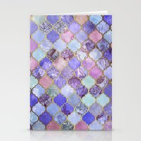 moroccan Stationery Cards featuring Royal Purple, Mauve & Indigo Decorative Moroccan Tile Pattern by micklyn