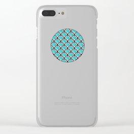 Aqua Art Deco Twenties Fan Pattern Clear iPhone Case