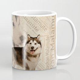 Alaskan Malamute Collage on Word Pattern Coffee Mug