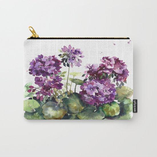 Purple violet pelargonium geranium flowers watercolor Carry-All Pouch