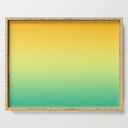 Gradient Orange Yellow Teal Mint Green Ombre Autumn Pattern Fresh Soft Blurred Texture Serving Tray