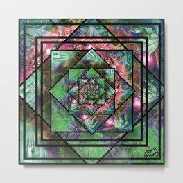 Enchanted Portal Lime Rose Metal Print