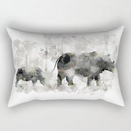 Rhino and Calf Rectangular Pillow
