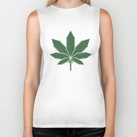 weed Biker Tanks featuring weed by rubenmontero