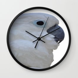 Side Portrait Of A Blue-Eyed Cockatoo Isolated Wall Clock