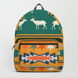 Ethnic Christmas pattern with deer Backpack