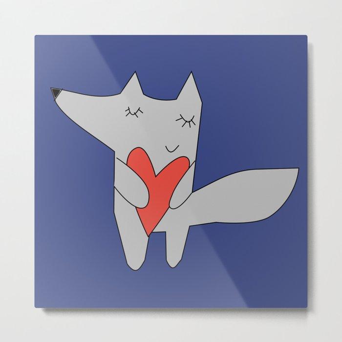 Fox in love blue Metal Print