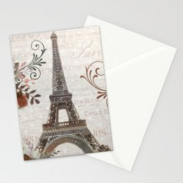Paris Eiffel Tower French Script Typography Digital Painting Wall Art Home Decor Stationery Cards