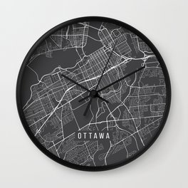 Ottawa Map, Canada - Gray Wall Clock