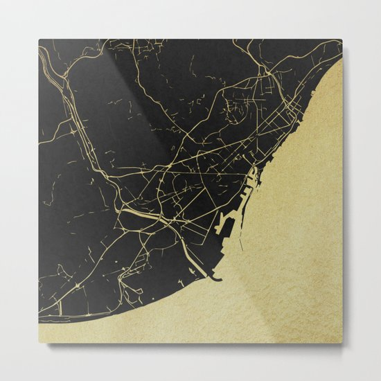 Barcelona Black and Gold Map Metal Print