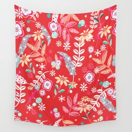 Christmas Floral pattern Wall Tapestry