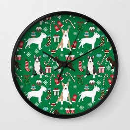 Bull Terrier christmas holiday pet pattern stockings presents dog breed gifts Wall Clock
