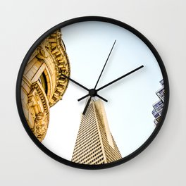pyramid building and modern building and vintage style building at San Francisco, USA Wall Clock