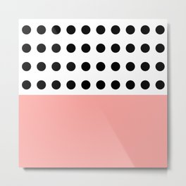 Polka Dot in monochrome with a touch of pink ;) Metal Print