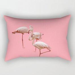 Flock of flamingos on a pink background Rectangular Pillow