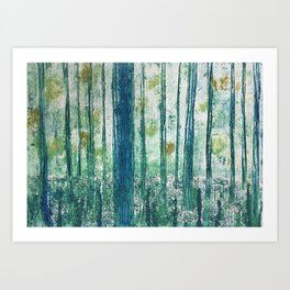 Collagraph print- enchanted forest Art Print