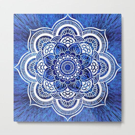 Mandala Blue Colorburst Metal Print