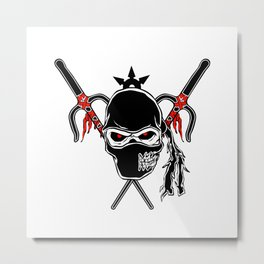 Cartoon Ninja zombie Face Metal Print